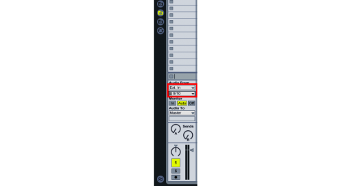 Select Ext In. in 'Audio From' section.