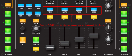 Press the FLEX FX button for whatever channel your wanting to apply the effect to.