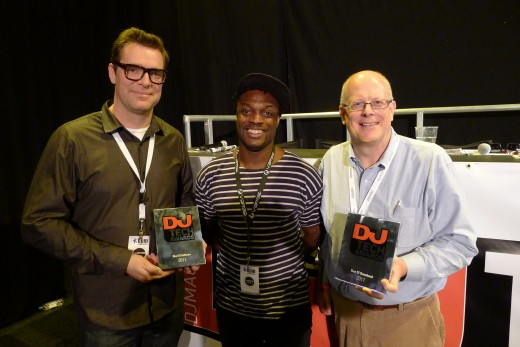 Sam from Serato & Dean from Rane with DJ Mag's Mick Wilson and our awards