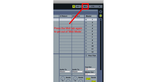 Press the Midi tab again to get out of 'Midi Mode'.