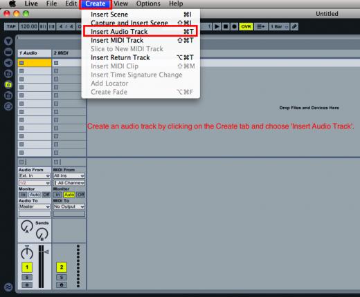 Create an Audio track.