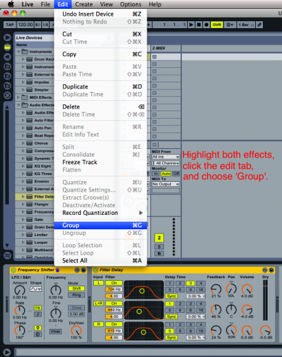 Grouping the effects into an Audio Rack.