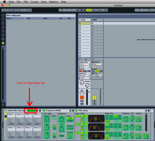 Put Ableton in 'Map Mode'.