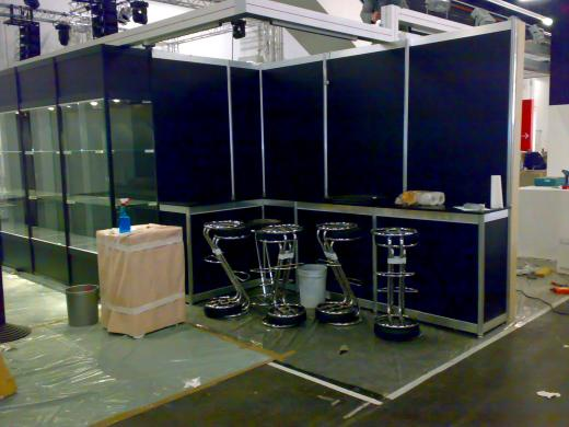 EKS's Booth (next to ours) mid construction