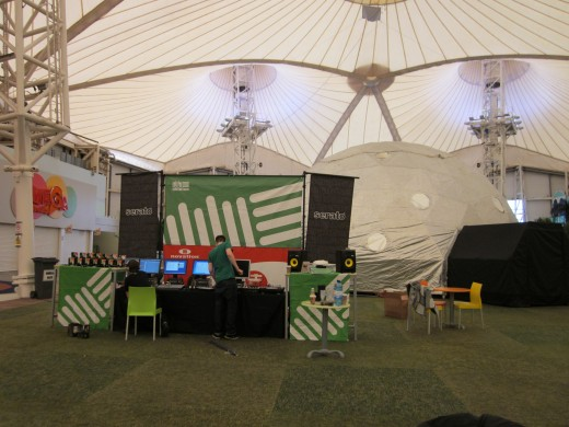 The stand in the pavillion with the RFID Ableton Dome behind
