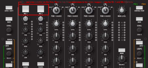.. and press a button on the Sixty Eight to map each parameter to the mixer. I suggest using the Mic 1 and Mic 2 buttons.